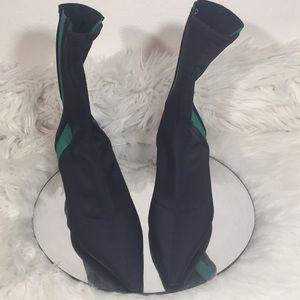 ZARA TRAFALUC 37 Size 8 NAVY STRETCH ANKLE BOOTS